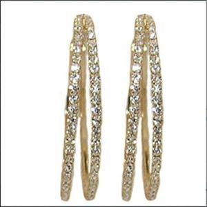 Cubic Zirconia Gold Hoop Earrings